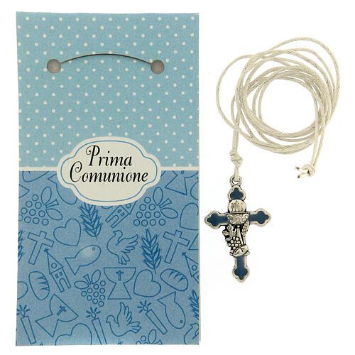 Croix pendentif métal émail bleu clair Communion 2