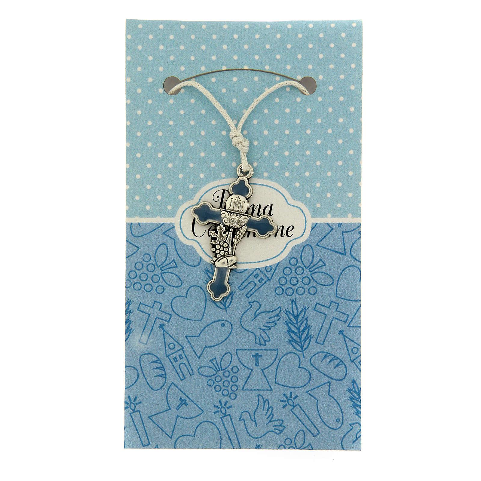 Cruz pingente metal esmalte azul Comunhão 3