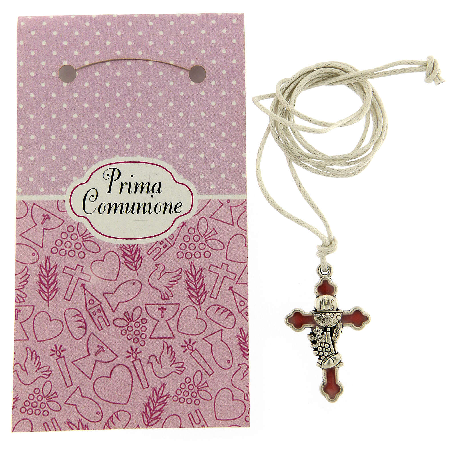 Communion cross pendant pink enamel 3