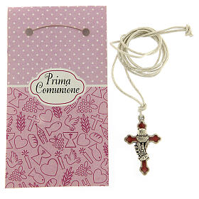 Communion cross pendant pink enamel s3