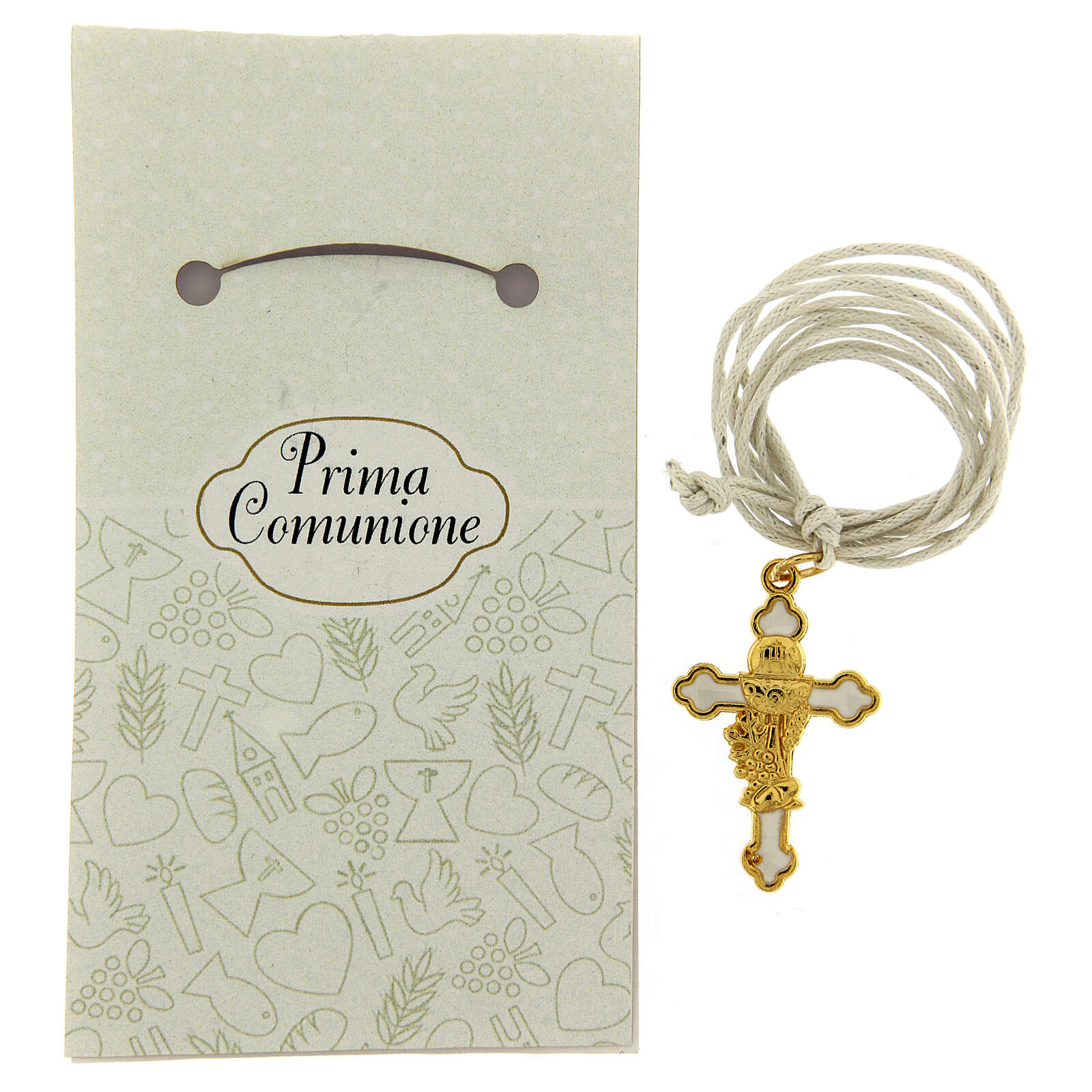 Cross pendant Communion white enamel 3