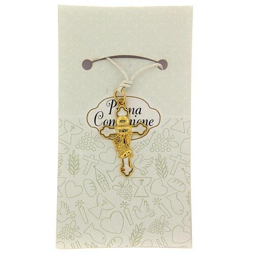 Croix pendentif Communion émail blanc 1