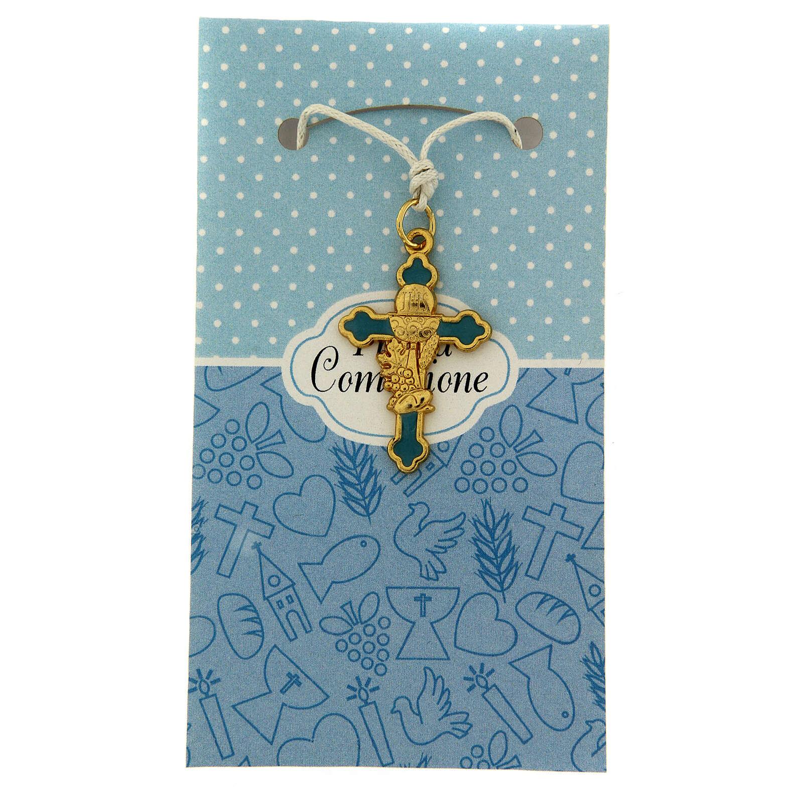 Croix pendentif fond bleu clair Communion 3