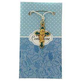 Croix pendentif fond bleu clair Communion s1