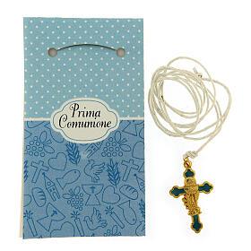 Croix pendentif fond bleu clair Communion s2