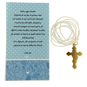 Croix pendentif fond bleu clair Communion s3