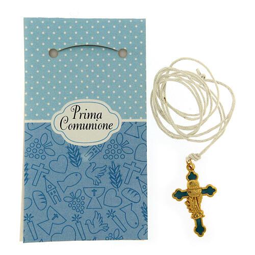 Croix pendentif fond bleu clair Communion 2