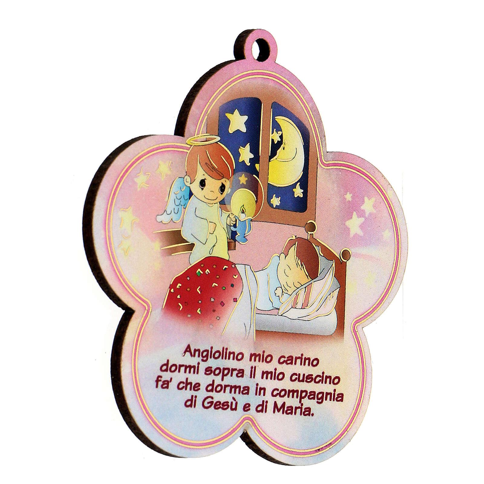 Flor madera con oración Ángel de la Guarda niña 3