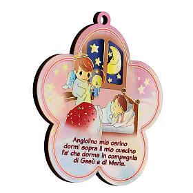 Flor madera con oración Ángel de la Guarda niña s2