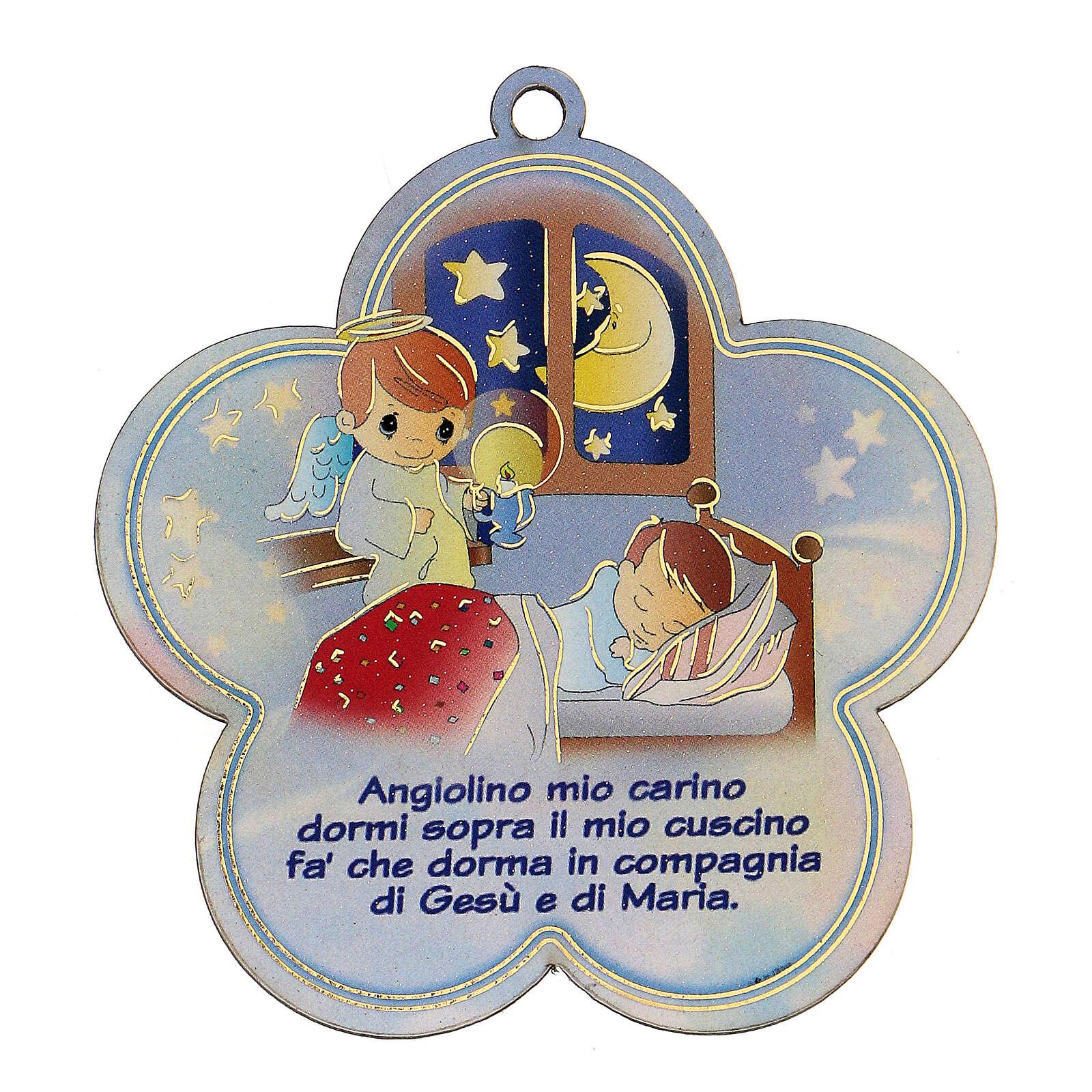 Flor madeira com oração Santo Anjo ITA menino 3