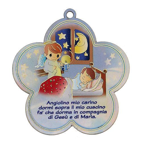 Flor madeira com oração Santo Anjo ITA menino 1