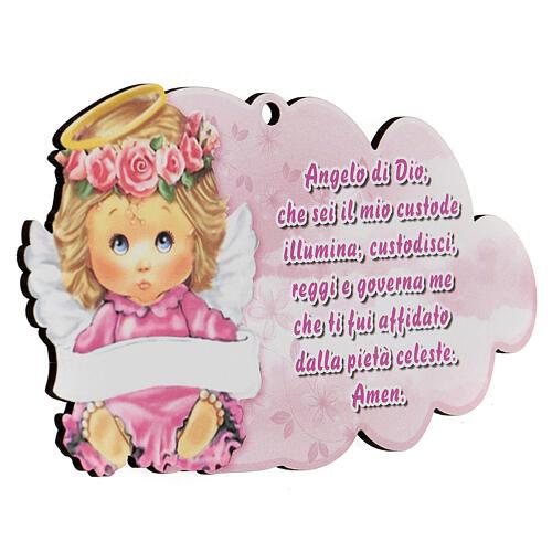 Cuadrito nube rosa Ángel de Dios 2