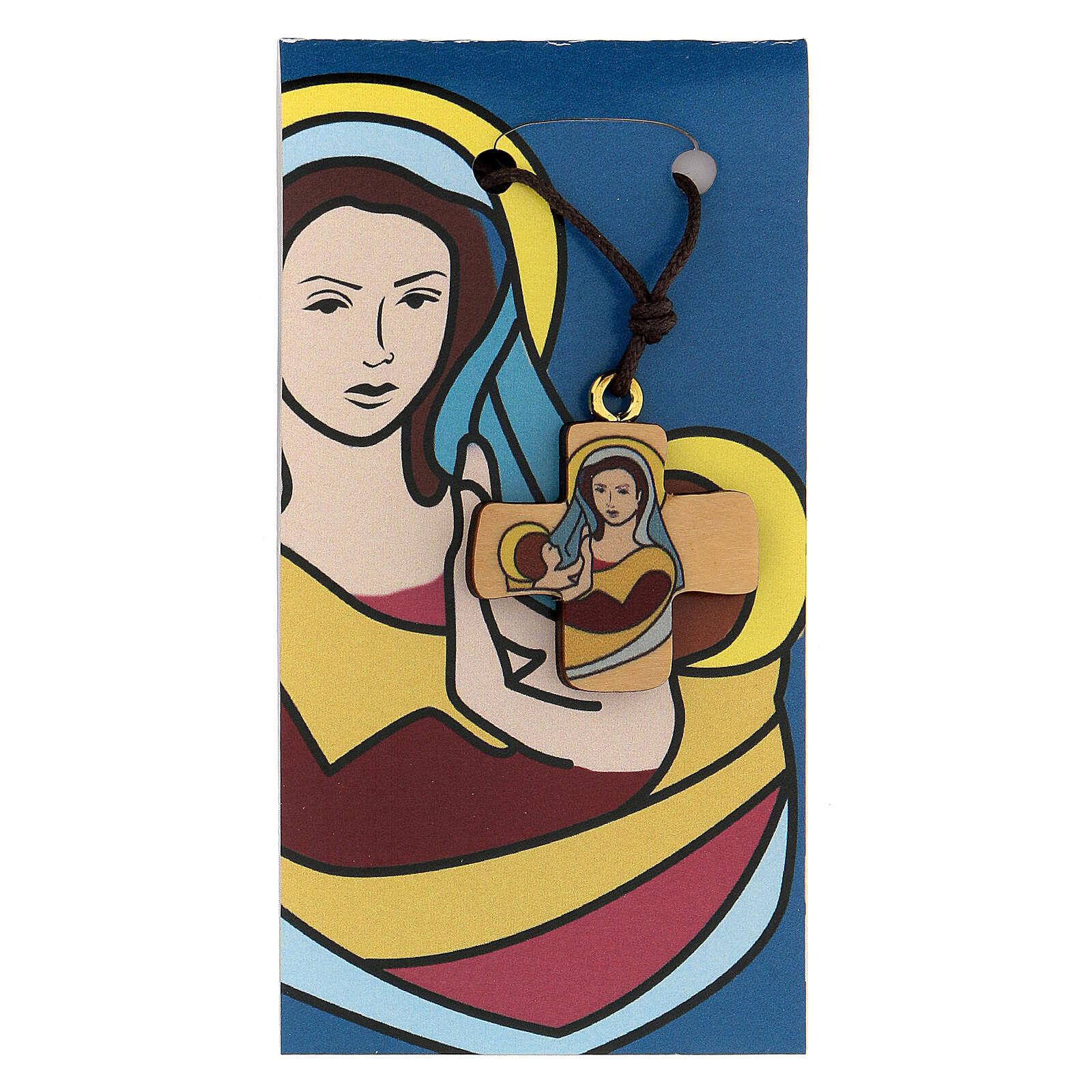 Cruz Virgen y Niño madera de olivo 3
