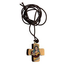 Croix Vierge à l'Enfant bois d'olivier s2