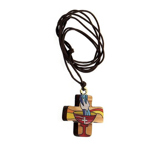 Croix Baptême bois d'olivier 2