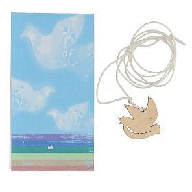 Pendentif colombe en bois imprimé s4