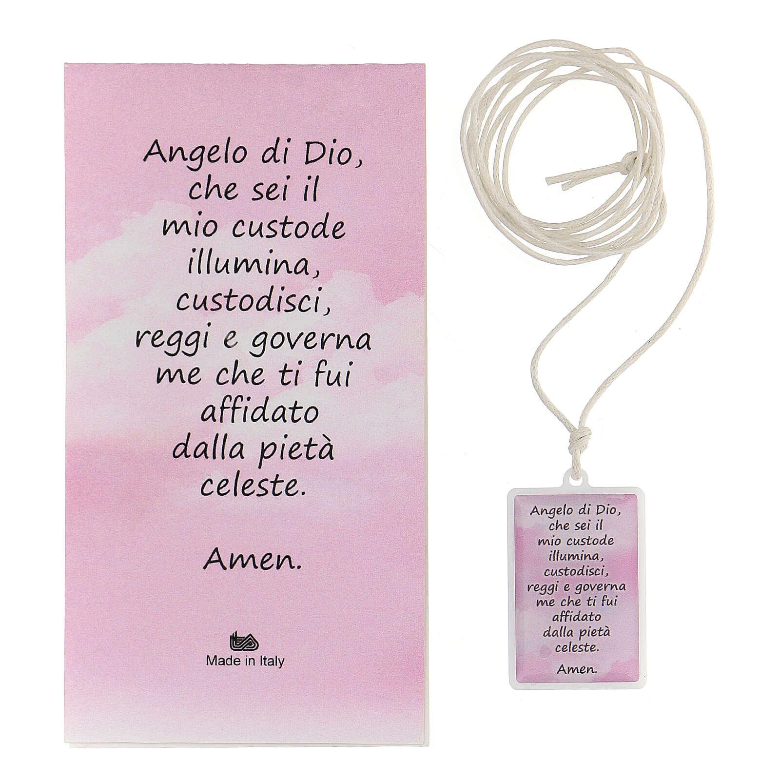 Ciondolo Angelo di Dio rosa 3