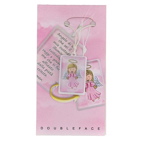 Ciondolo Angelo di Dio rosa 1