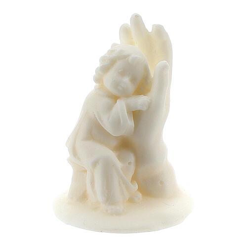 Angelito en mano resina blanca para niño 1