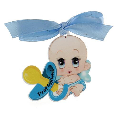 Medalla para cuna niño escrita Proteggimi moño 1