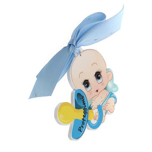Medalla para cuna niño escrita Proteggimi moño 2