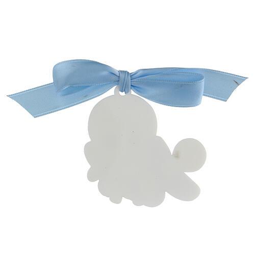 Medalla para cuna niño escrita Proteggimi moño 3