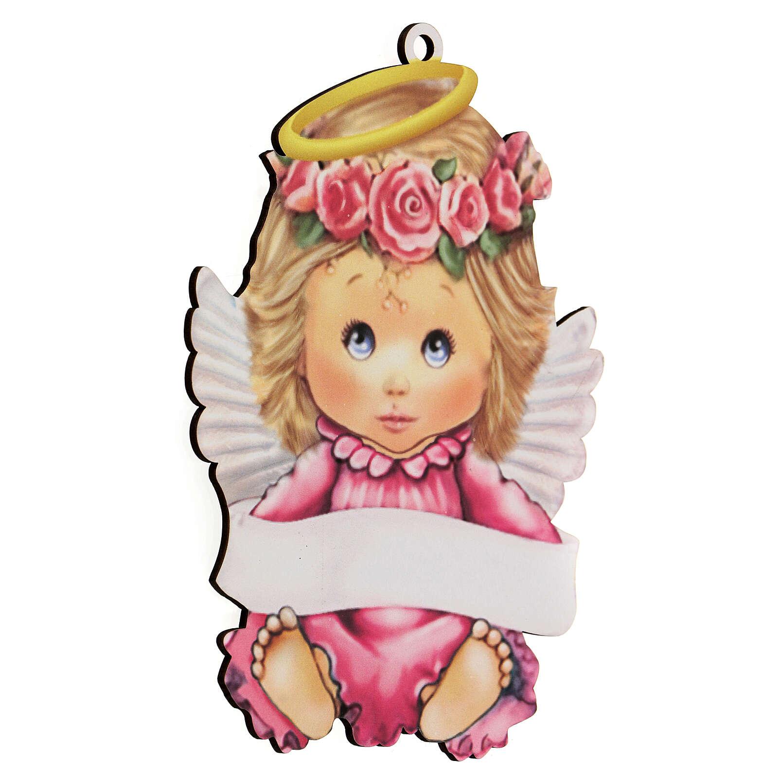 Quadretto rosa bimba angelo 20 cm 3