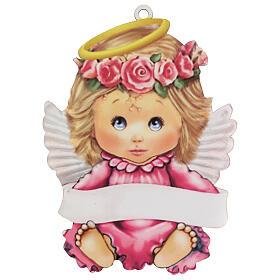 Quadretto rosa bimba angelo 20 cm s1