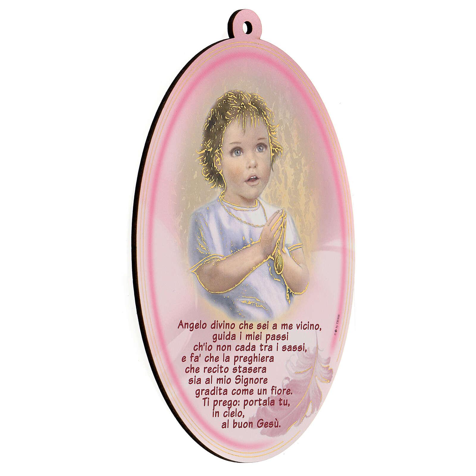 Cuadrito ovalado rosa con oración Ángel 3