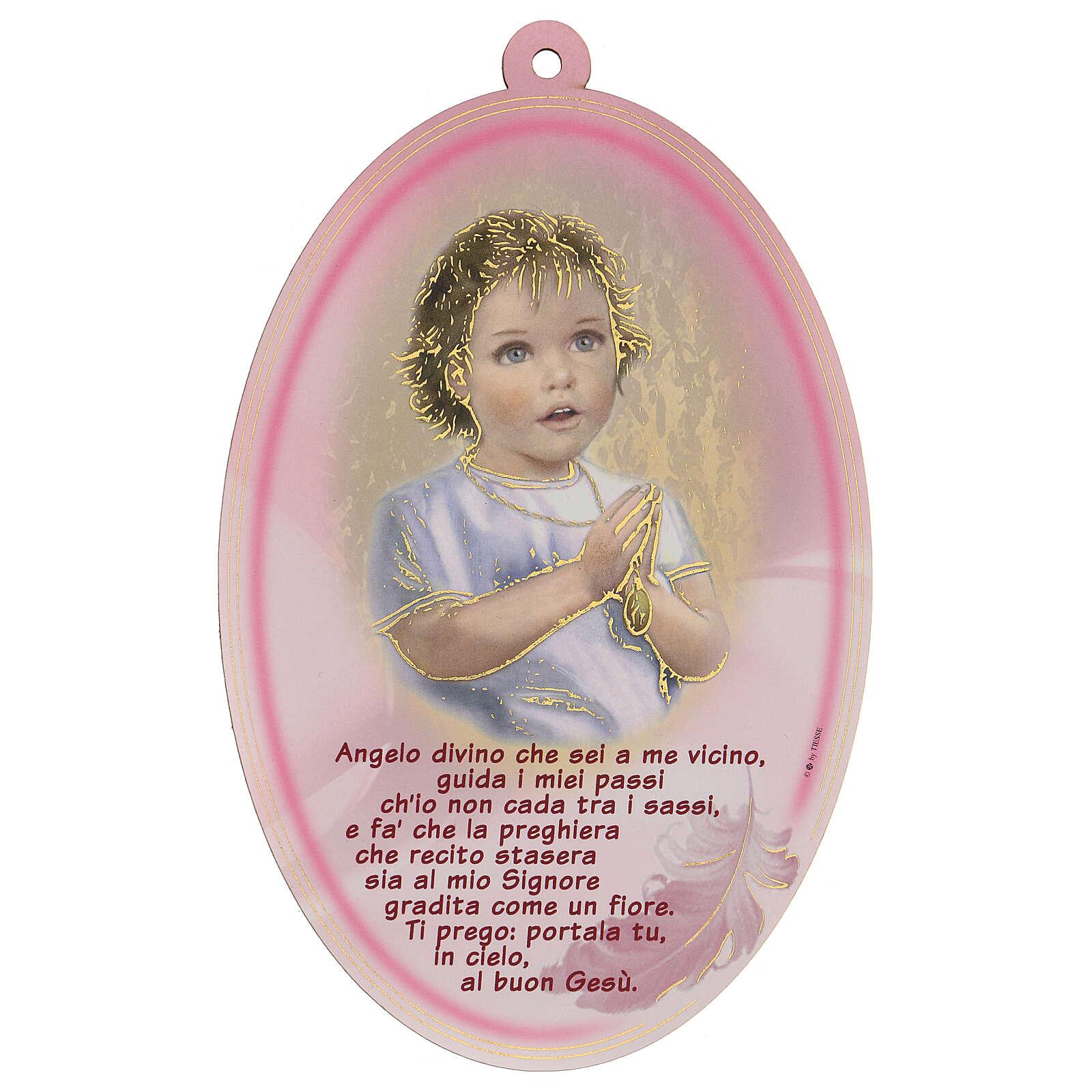 Quadretto ovale rosa con preghiera Angelo 3