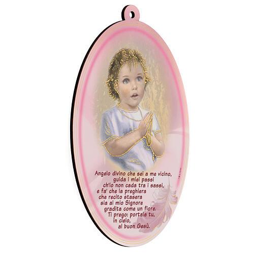 Quadretto ovale rosa con preghiera Angelo 2