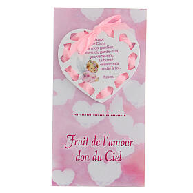 Médaille pour berceau coeur rose prière FRANÇAIS s1