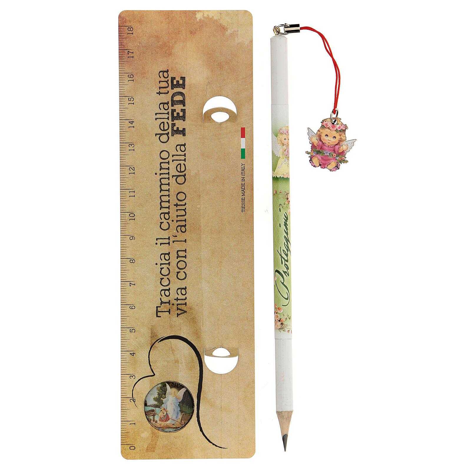 Crayon et règle avec ange fille 3