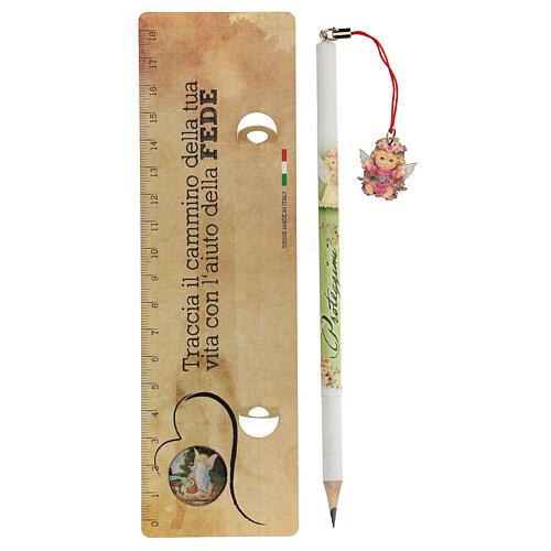 Crayon et règle avec ange fille 2