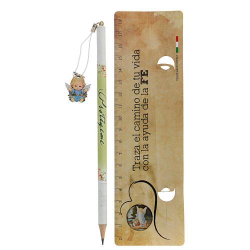 Souvenir bleu crayon et règle ESPAGNOL 2