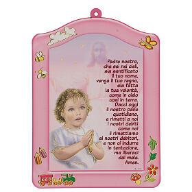 Quadretto rosa Ave Maria bambina s1