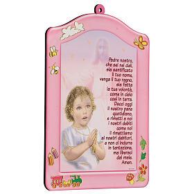 Quadretto rosa Ave Maria bambina s2