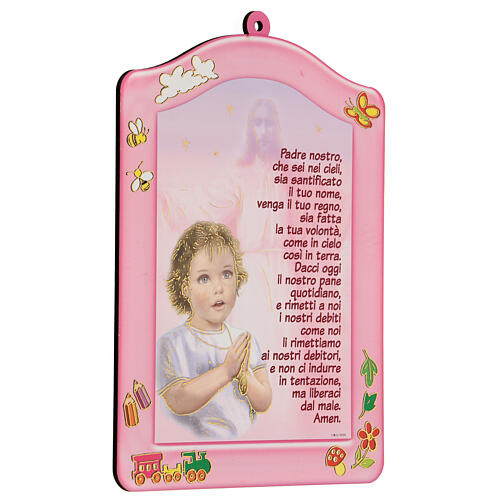 Quadretto rosa Ave Maria bambina 2