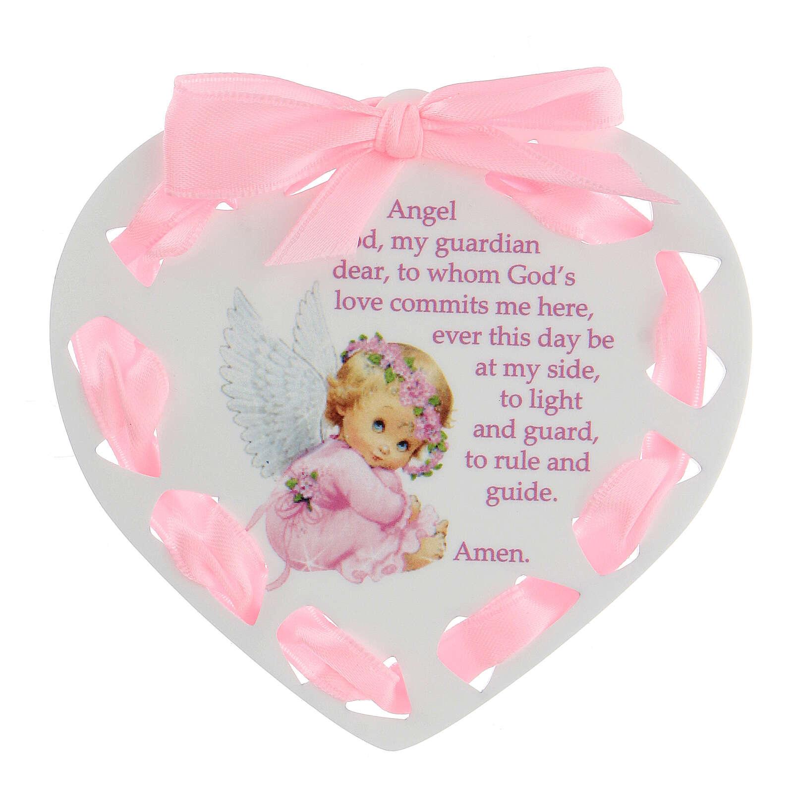 Coeur ruban rose Ange de Dieu ANGLAIS 3