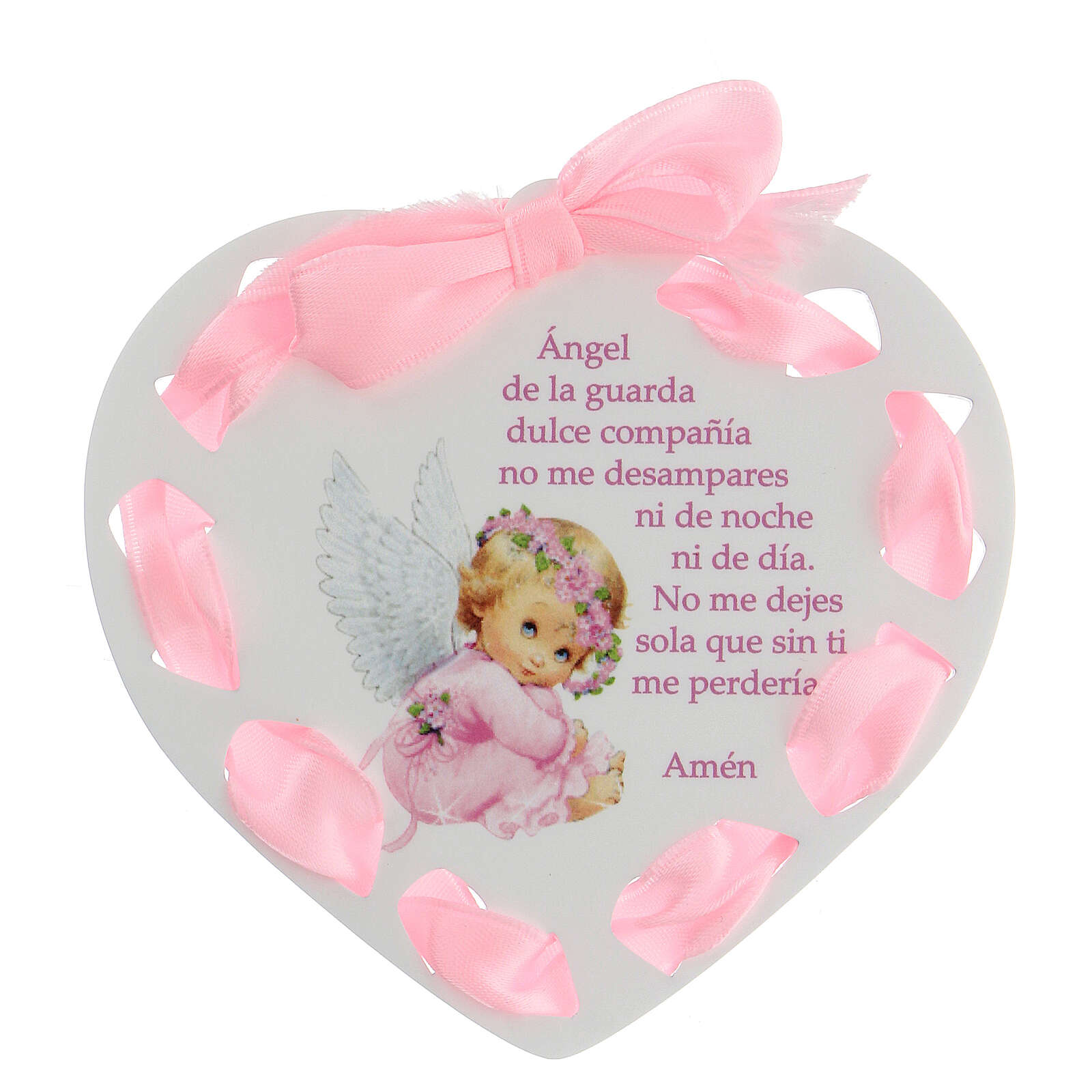 Coeur ruban rose Ange de Dieu ESPAGNOL 3