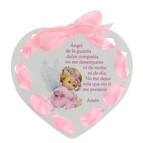 Coeur ruban rose Ange de Dieu ESPAGNOL s1
