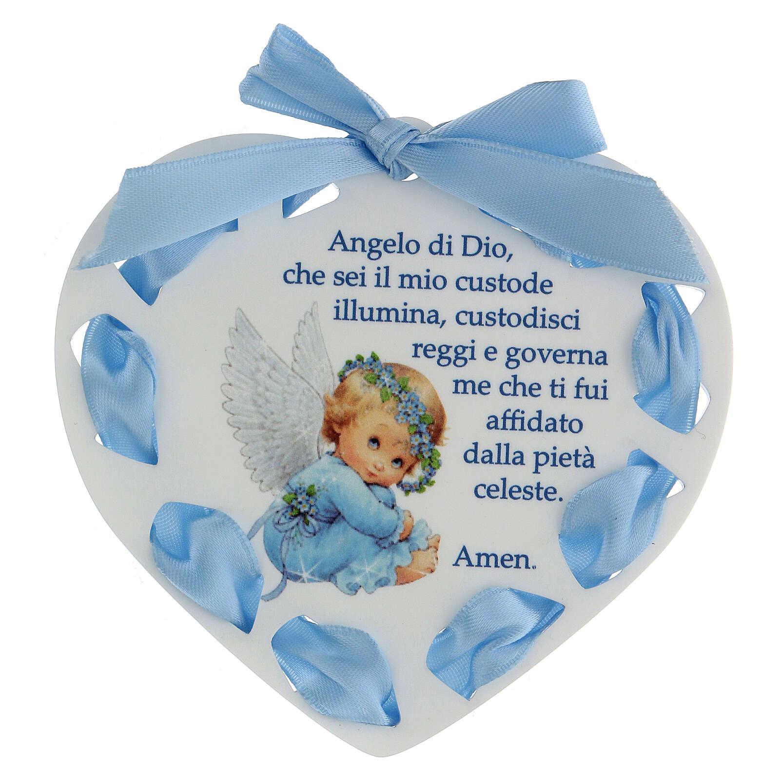 Coeur ruban bleu Ange de Dieu 3