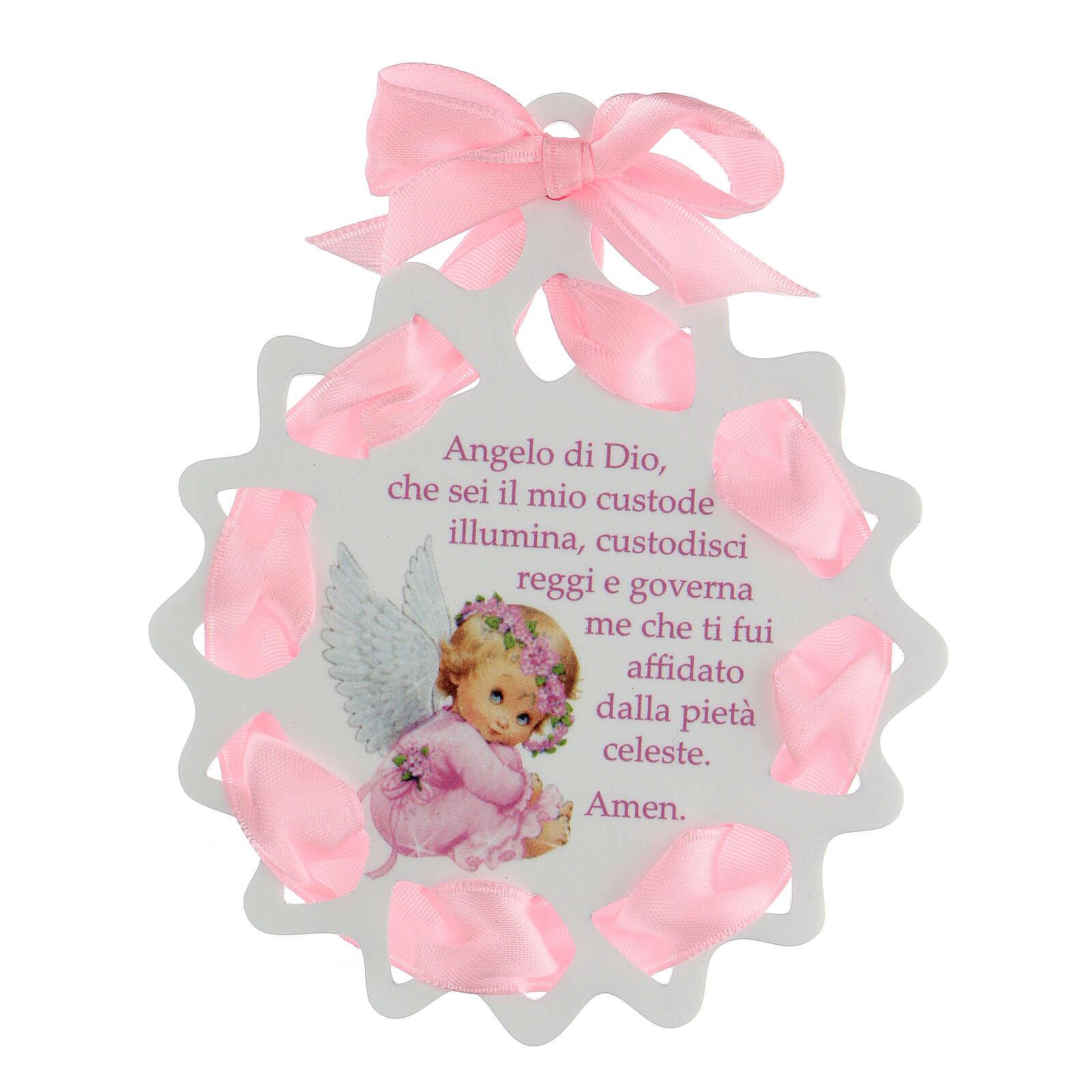 Estrella cinta rosa medalla para cuna oración 4