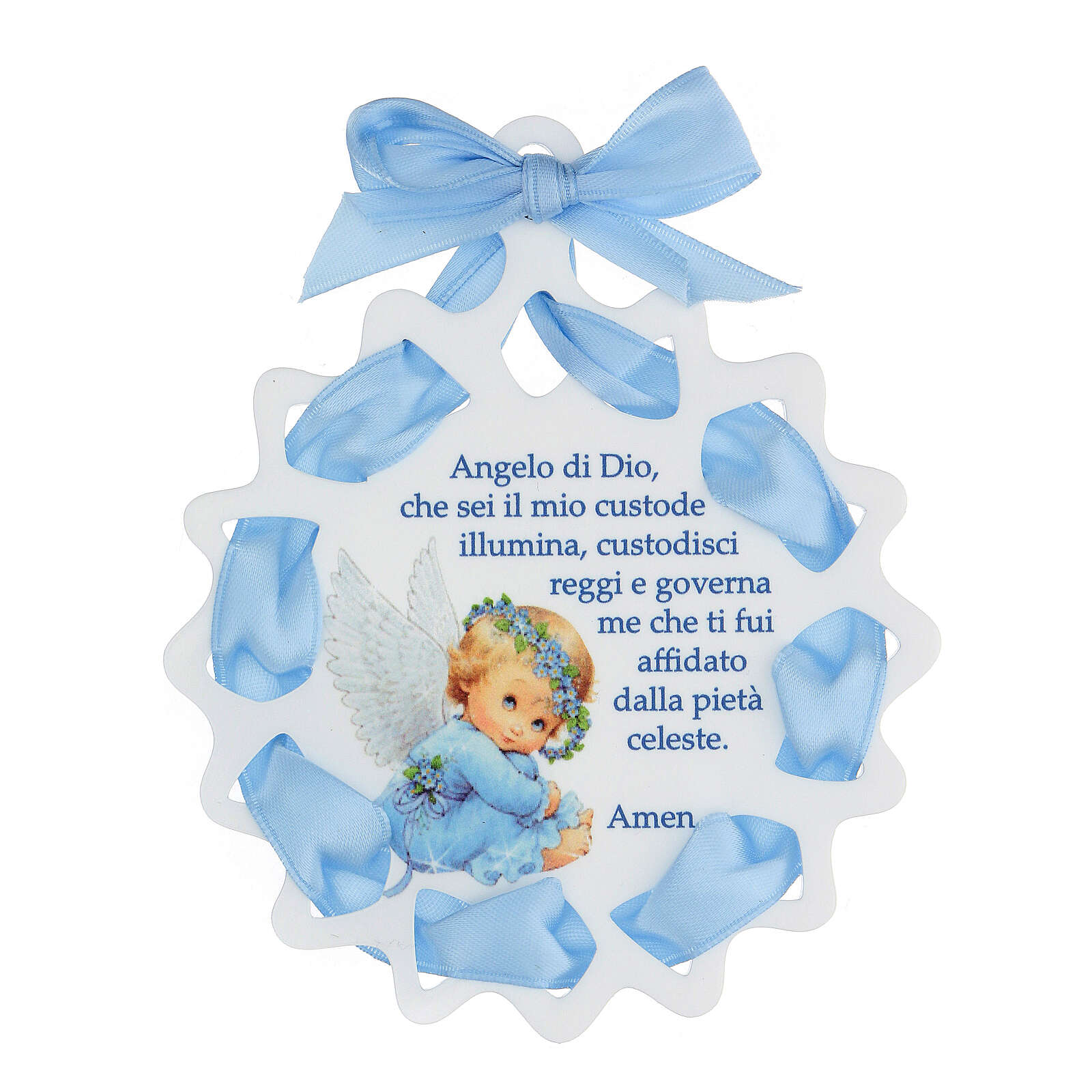 Sopraculla stella nastro azzurro preghiera 4