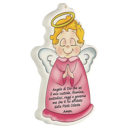 Ángel de Dios cuadrito perfilado rosa 2