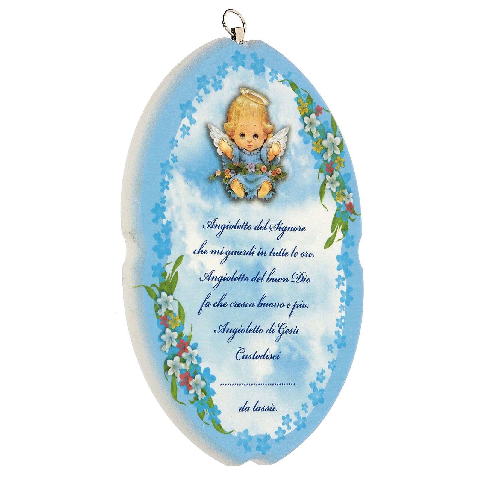 Preghiera Angelo Custode su tavola azzurra 3