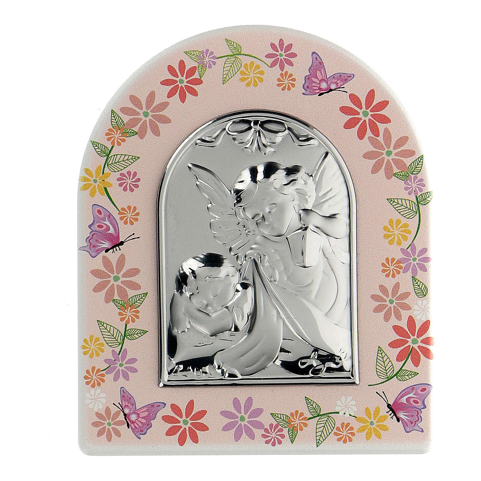 Cuadrito floral placa Ángeles niña 3