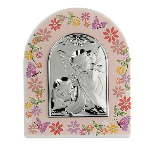 Cadre floral plaque Ange fille 1