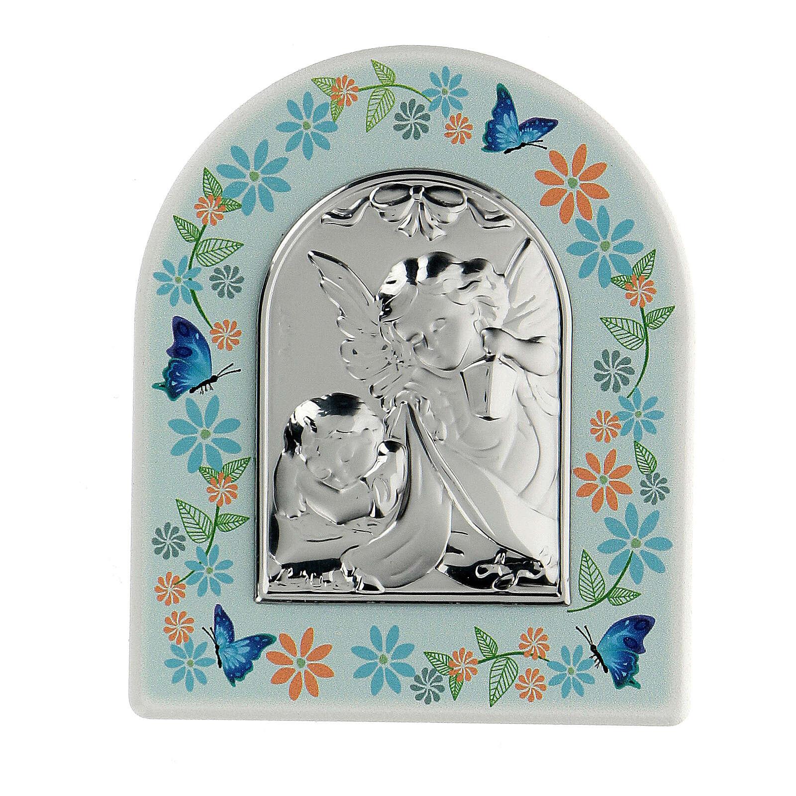 Cuadrito Ángel y flores azul 3