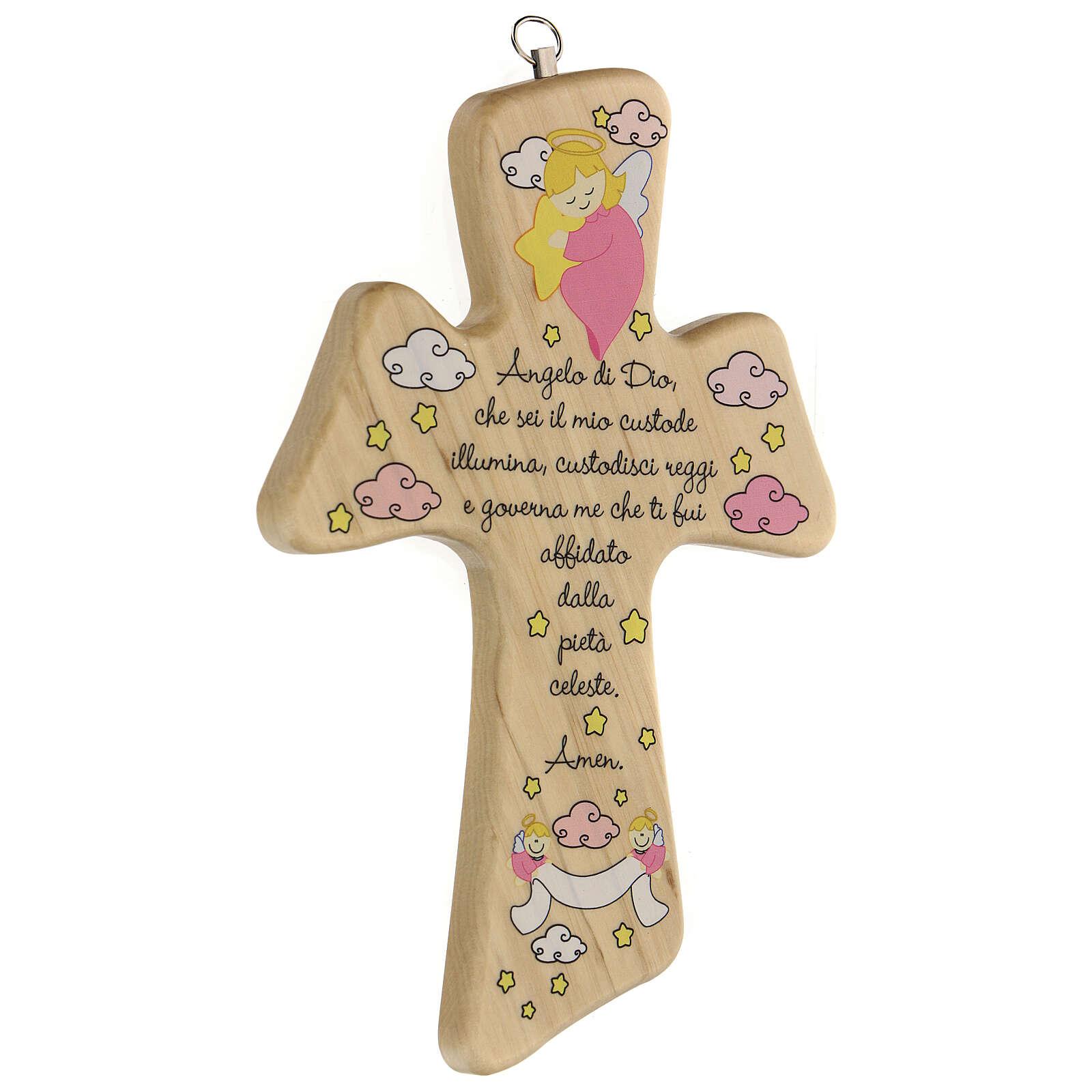 Croce legno preghiera bimba 3